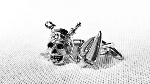Pirate Skull and Sail-boat cufflinks