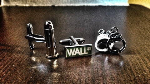 Bullet or Handcuffs for Wall Street Cufflink Set