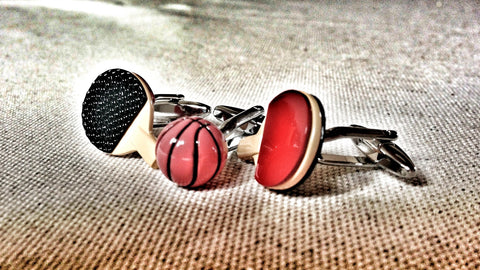 Table Tennis Paddles and Basketball Cufflink Set