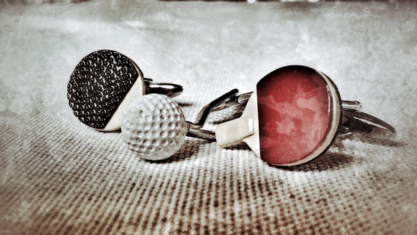 Table Tennis Bats and Golf Ball Cufflink Set