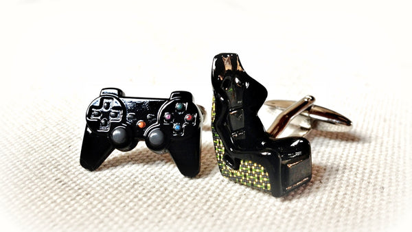 PlayStation Controller and Racing Car Seat Cufflinks