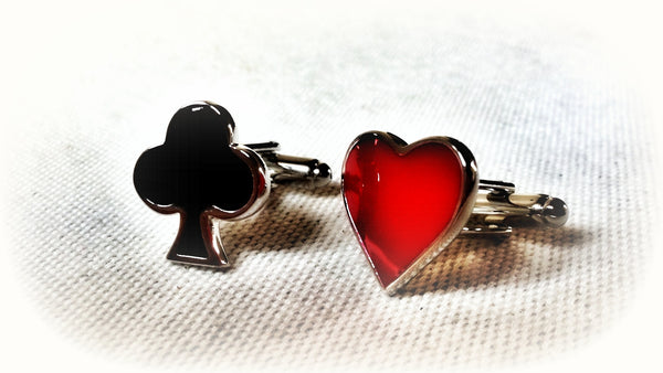 Club Card Suit and Heart Card Suit Cufflinks