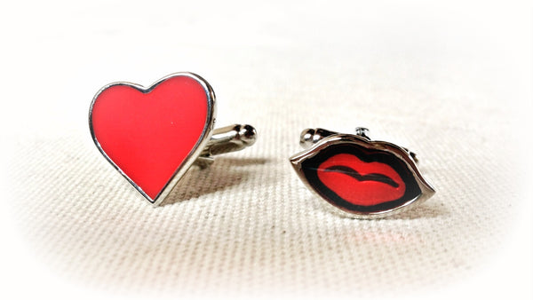 Heart and Hot Lips Cufflinks