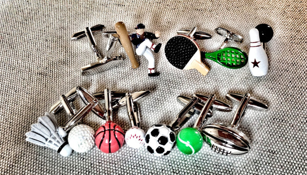 Mix a Ball and a Racket Cufflink Set