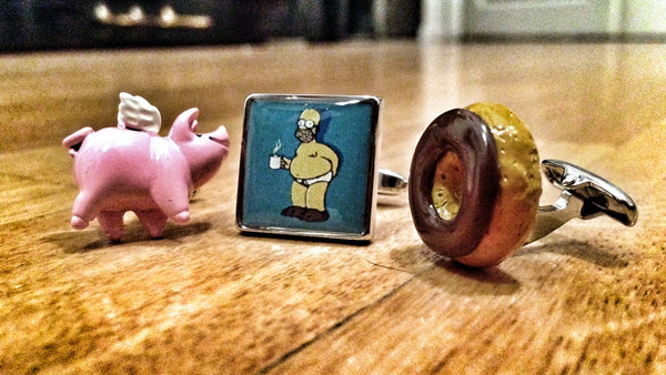 Spider Pig, a Donut and Homer Simpson Cufflink Set