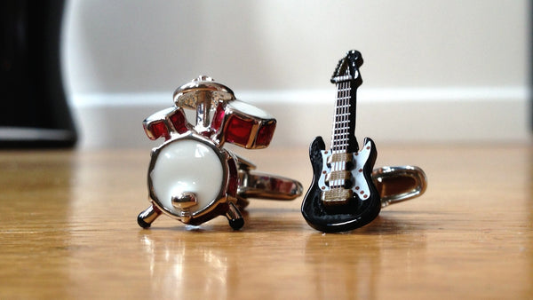 Drums and Electric Guitar Cufflinks