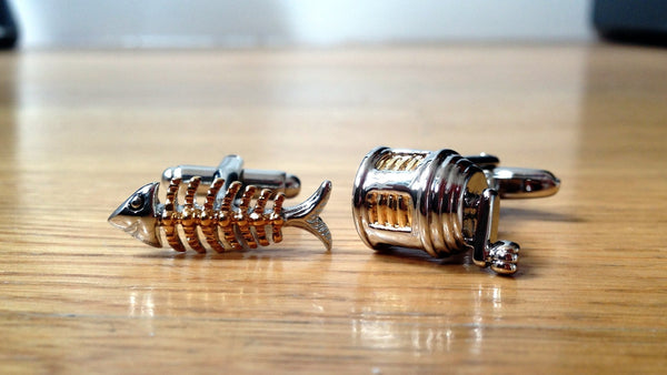 Fish Bone and Fishing Reel Cufflinks