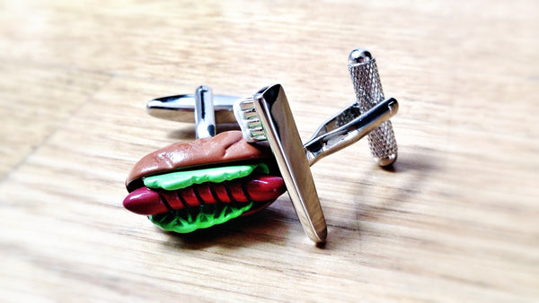 Brushing Teeth With Hotdogs Cufflinks