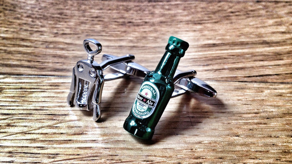 Corkscrew and Beer Bottle Cufflinks