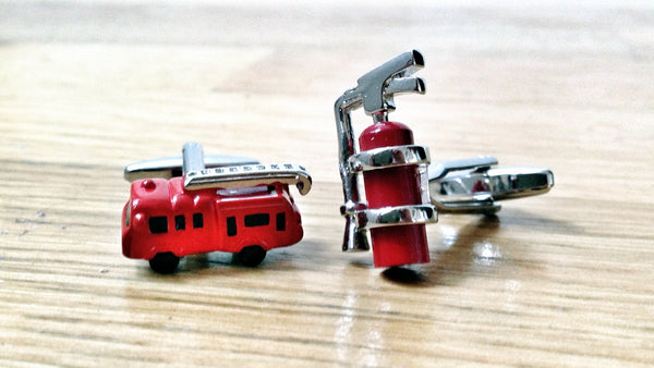 Fire Extinguisher and Fire Truck Cufflinks