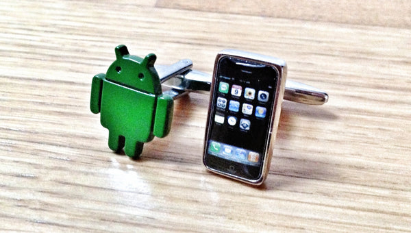 Android vs iPhone Cufflinks