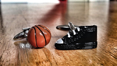 Basketball Shoe and Ball Cufflinks