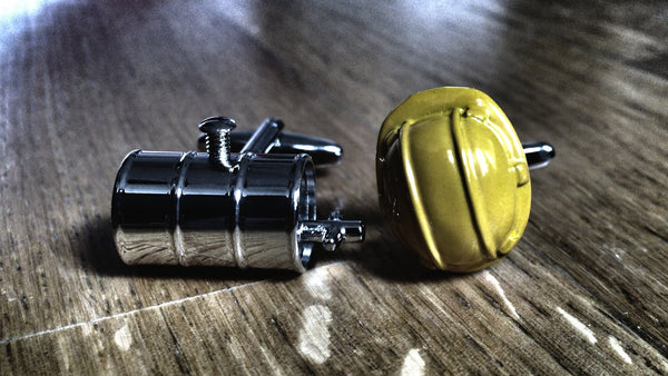 Oil Barrel and Hard Hat Cufflinks