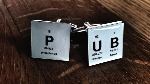 Retro Periodic Table PUB Cufflinks