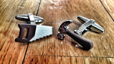Sexy Blue Collar Brown Hammer & Saw Cufflinks
