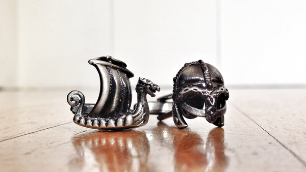 Antique Finish Viking Helmet and Longboat Cufflinks