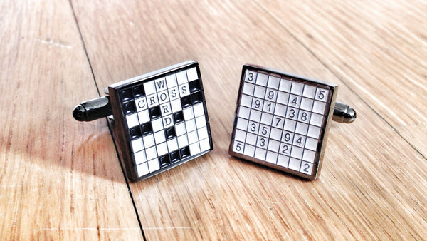 Sudoku & Crossword Puzzle Cufflinks