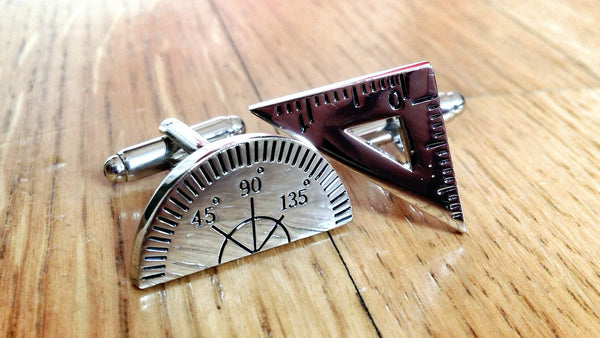 Triangle Ruler & Compass Cufflinks for Math Wizzes
