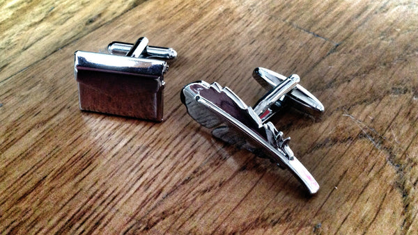 Feathered Plume Pen & Envelope Cufflinks