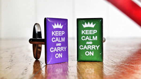 Keep Calm and Carry On Purple & Green Cufflinks