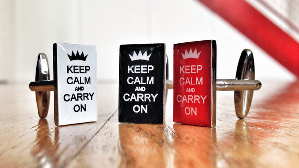 Keep Calm and Carry On White, Black & Red Cufflink Set
