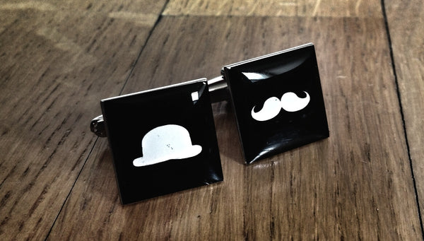 Bowler Hat & Moustache Cufflinks