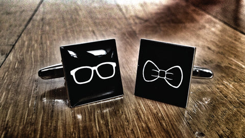Hipster Glasses & Bow Tie Cufflinks