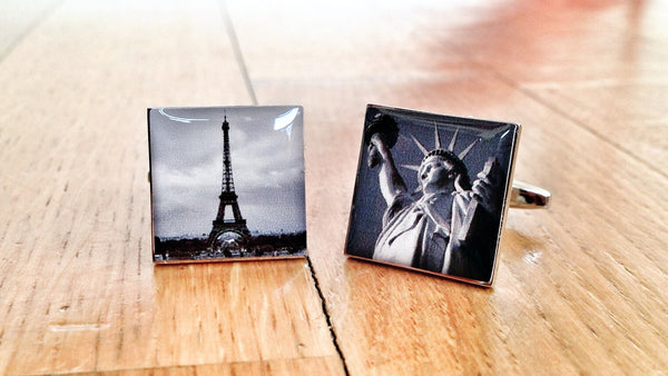 Vintage Eiffel Tower and State of Liberty Cufflinks