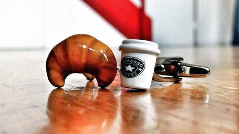 Breakfast on the Go, Croissant & Coffee Cufflinks
