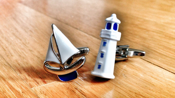 Yachtmaster Sail Boat & Lighthouse Cufflinks