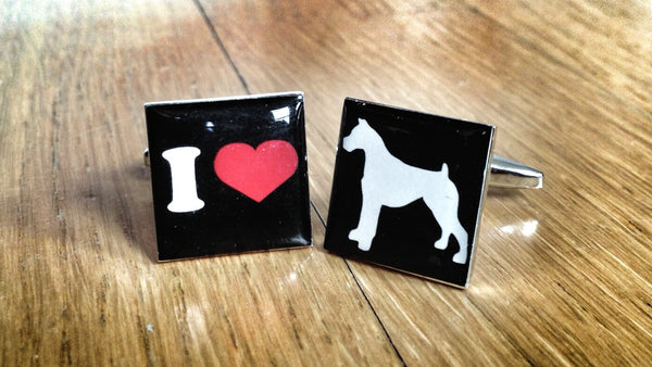 I Love Boxers Dog Cufflinks