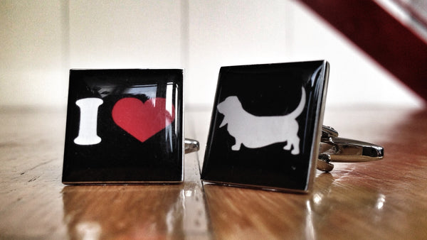 I Love Bassetts Dog Cufflinks