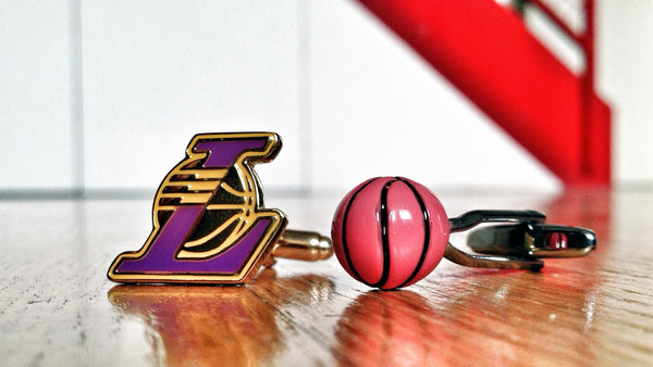 LA Lakers Basketball Fan Cufflinks