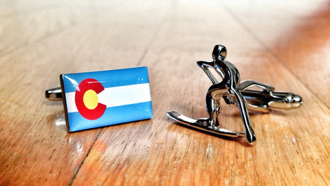01090 Colorado Pride Ski Cufflinks