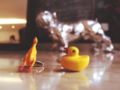 Rubber Ducky versus Rubber Chicken Cufflinks