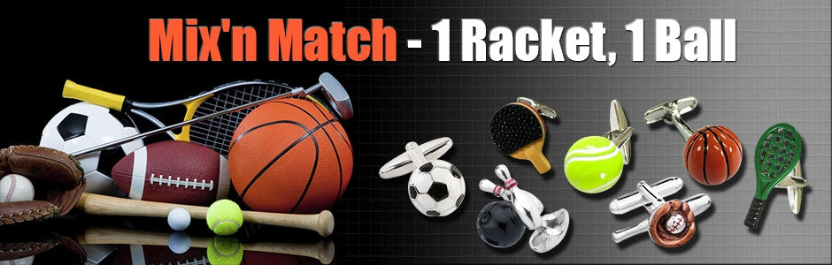 mix racket and ball cufflinks