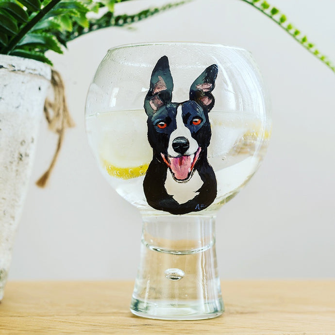 Personalised Hand Painted Pet Portrait G&T Glass
