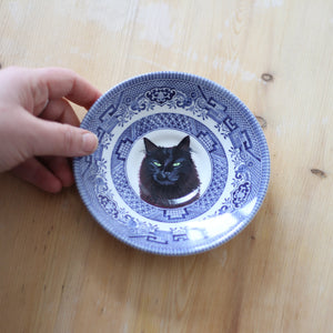 Personalised Hand Painted Pet Portrait vintage saucer