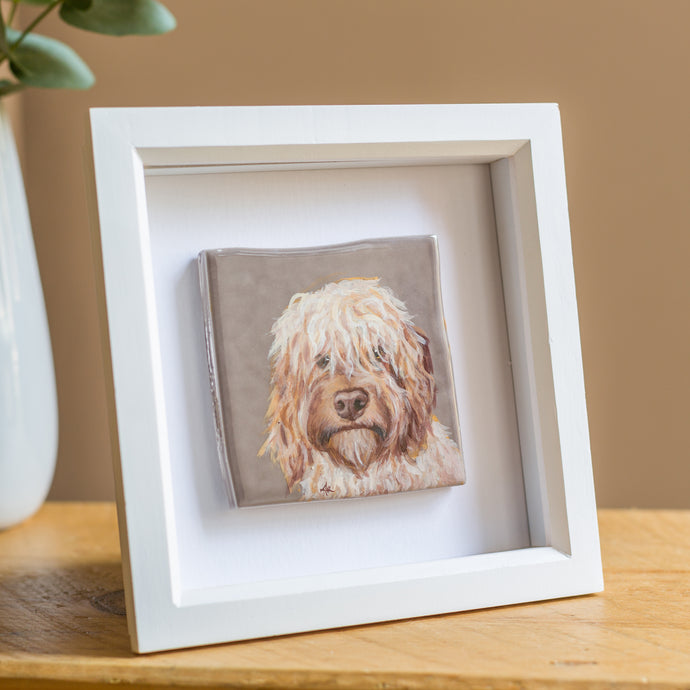 Framed Personalised Hand Painted Pet Portrait Reclaimed Tile