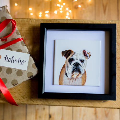 Framed Personalised Hand Painted Pet Portrait White Tile