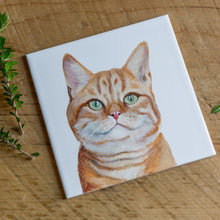 Load image into Gallery viewer, Framed Personalised Hand Painted Pet Portrait White Tile