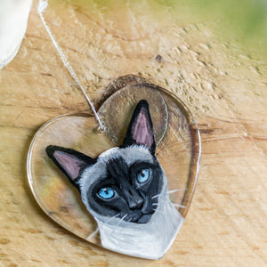 Hand Painted Pet Portrait on Hanging Heart Glass