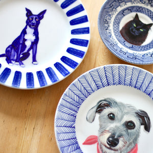 Blue China Personalised Hand Painted Pet Portrait Plate