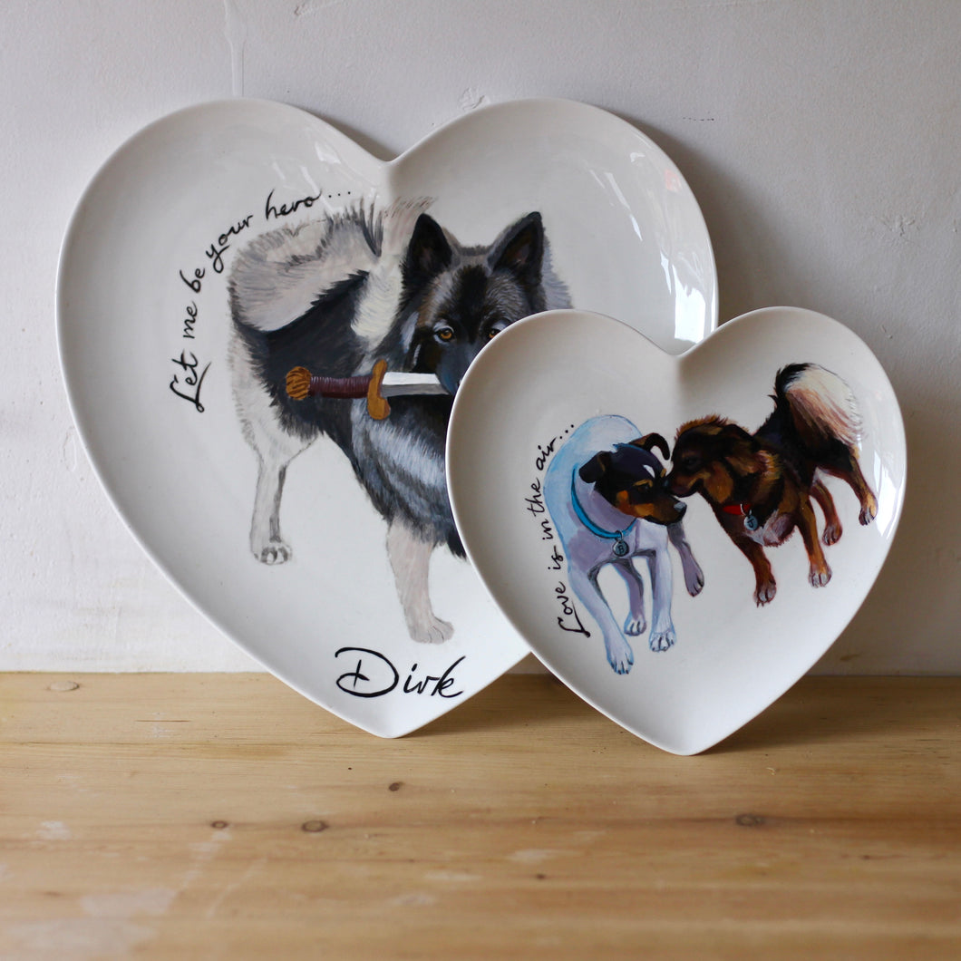 Valentines Day Personalised Hand Painted Pet Portrait Heart Plate
