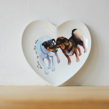 Load image into Gallery viewer, Valentines Day Personalised Hand Painted Pet Portrait Heart Plate