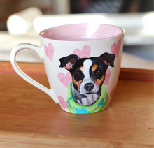 Load image into Gallery viewer, Valentines Day Personalised Hand Painted Pet Portrait Mug