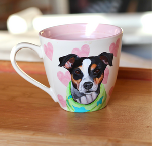 Valentines Day Personalised Hand Painted Pet Portrait Mug