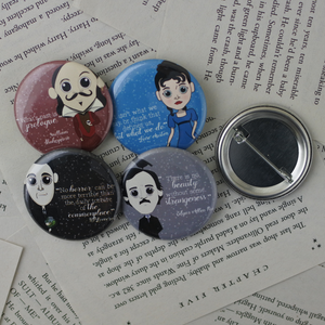 classic author pint back buttons featuring Jane Austen, William Shakespeare, Edgar Allen Poe, and HP Lovecraft