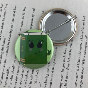 green alien scifi book button