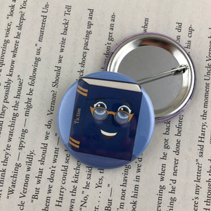 blue librarian fiction book button